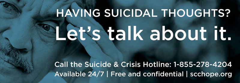 Having Suicidal Thoughts? Let's talk about it banner