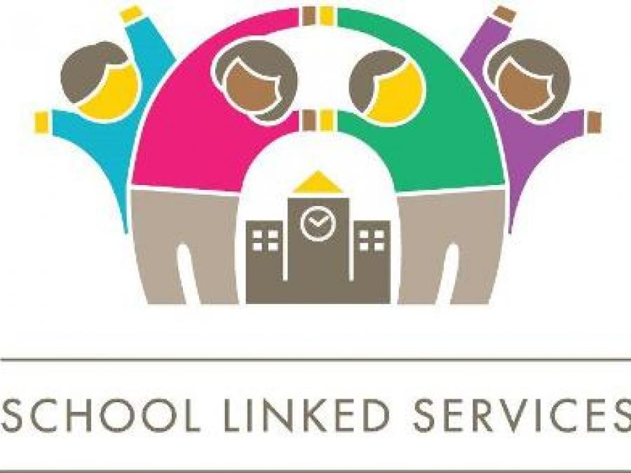 The School Linked Services Logo with children happily waving their arms in front of a school.